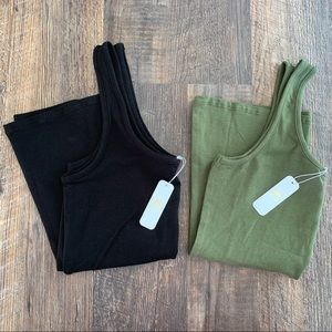 EYESHADOW S Black & Olive Cotton Poly Tank Top LOT